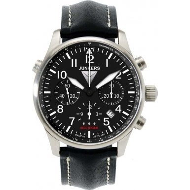 Junkers 6626-2 Mens Hugo Black Leather Chronograph Watch