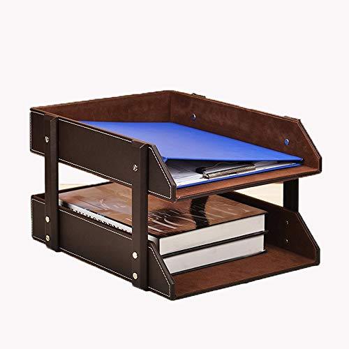 LIZONGFQ Leder Büro Aktenregal Dokumentenablage Fach Fall Aus Holz Desktop Schreibtisch Veranstalter Buchhalter (2 Ebenen Tabletts, Braun) -