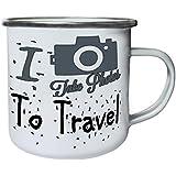 Nuevo I Love Travel Tomar Fotos Retro, lata, taza del esmalte 10oz/280ml l731e