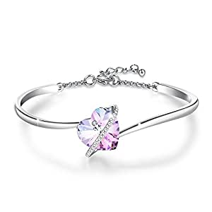 """9739120e893f GEORGE · SMITH """"Love Echo"""" 7 inches Adjustable Blue Purple Heart Bracelets  for Women Rose Gold Bangle with Swarovski Crystals Mum Bracelet Birthday  Gifts ..."""