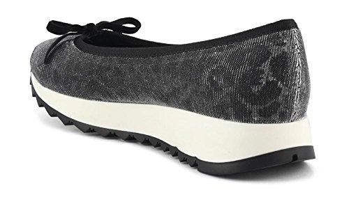 CAF NOIR EM914 silberne Schuhe Frauen niedrige Turnschuhe Ballerina Bogen  Keil Argento