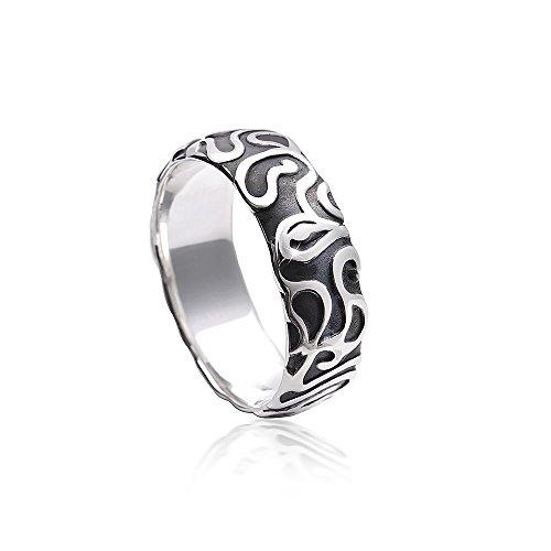 MATERIA Damen Herren Ring Labyrinth 925 Silber antik massiv mit Box/deutsche Fertigung #SR-129, Ringgrößen:62 (19.7 mm Ø)