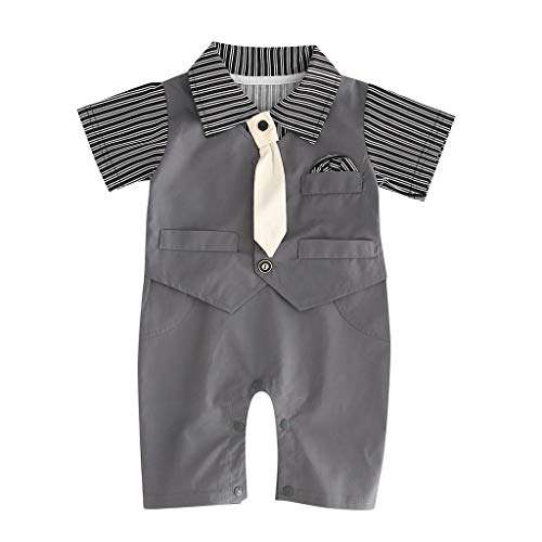 wuayi  Baby Boy Gentleman Romper, Baby Boys Striped Tie Short Sleeves Bodysuit Jumpsuit Overall Strampler Clothes Outfit Set 0-24 Months Tie Jumpsuit