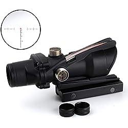 SEIGNEER ACOG Style 4x32 Rouge et Vert Point Rouge Chasse Tactique Lunette de tir avec 20mm Tisserand/Picatinny pour la Chasse