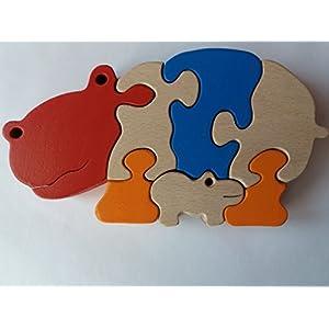 Holzpuzzle Hippos handgemachte Nilpferd Tier Spielzeug Geschenk für Kinder massiv Buchenholz Spielzeug