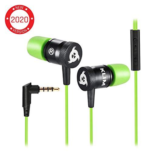 KLIM Fusion Kopfhörer in Ears mit Mikrofon - Langlebig - Innovativ: In-Ear Kopfhörer mit Memory Foam - Neue 2019 Version - 3.5 mm Jack - Sport Gaming In Ear Kopfhörer - Grün