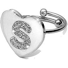 Beloved Anello da donna con cristalli in acciaio - con lettera iniziale - a forma di cuore - misura adattabile - lettera dell'alfabeto - vestibilità da misura 9 a 20 - argento