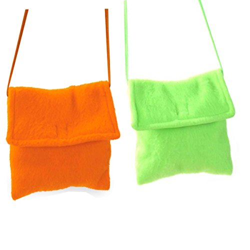 Plüschtasche in Zwei Farben erhältlich, Neon-Grün oder Neon-Orange, Accessoire, Ideal für unterwegs, Umhängetasche, Damentasche, Karneval (Neon Orange)