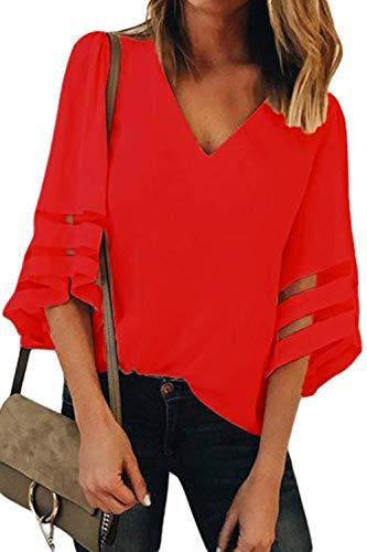 Aleumdr Bluse Damen vorne kurz hinten lang einfarbig Loose Vintage Langarm Loose Tops Bluse Sommer Shirt Elegant Oberteile Hemd XXL