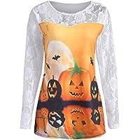 Geili Bluse Damen,Frauen Happy Halloween Kürbis Print Langarm Shirt Casual Spitze Patchwork Bluse Tops T-Shirt... preisvergleich bei billige-tabletten.eu