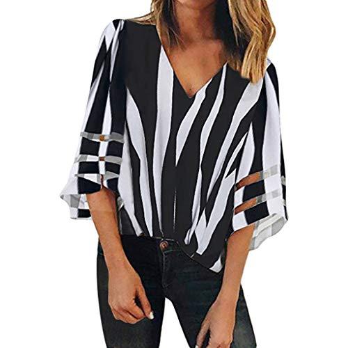 Riou T-Shirt Femme Manche Courte Eté Tops Col V Hauts Blouse Chic Tee Shirt Chemise Grande Taille Décontractée Top Tee-Shirt Pullover Sweat-Shirt,S-3XL (Black 5, S)