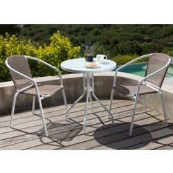 Salon-Garten Tisch + 2 Sessel Farbe taupe: Amazon.de: Garten