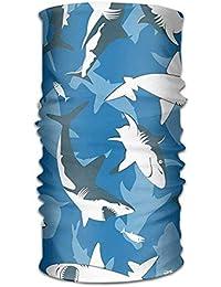 Sdltkhy Multi-Use Blue Shark Headband Bandana Mask Sports Seamless Breathable Hair Band Turban for
