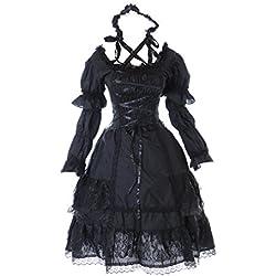 M de 3315Blanco y Negro Black White Stretch Gothic Lolita Classic vestido Disfraz Dress Cosplay kawaii de Story