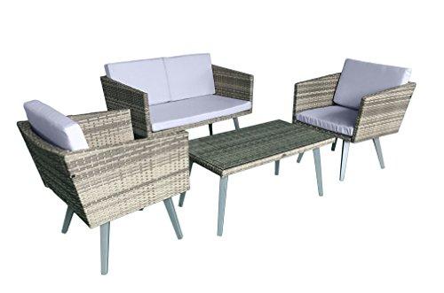 Jet-Line Gartenset Cassis gelb-grau-beige meliert Lounge Garten Set Neu Gartenmöbel Retro Design Neu günstig kaufen
