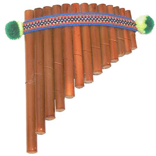 Flöte Instrument Kostüm - Panflöte aus Bambus braun, 17,5 x 13 cm, einfache gebogene Panflöte