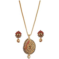 MD Design Gold Plated Pearl Diamond Pendant Set For Girls/ Women