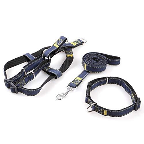 Denim Haustier Hunde Halsband Harness Leash Set für Welpen Hund Katze, verstellbare Hunde Geschirr Weste Halsband Blei S/M/L/XL - Geschirre Welpen