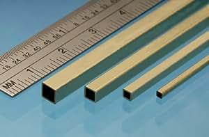 Profilé laiton tube carré 5.55 mm, longueur 305 mm