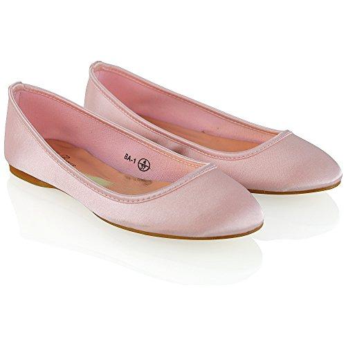 ESSEX GLAM Donna Nuziale Ragazza Di Fiore Satinato Ballerina Scarpa Rosa Pastello Satinato