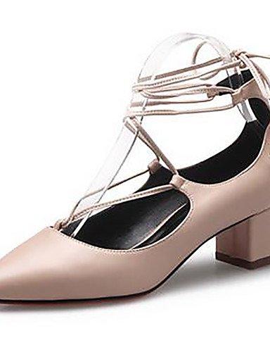 WSS 2016 Chaussures Femme-Habillé-Noir / Amande-Gros Talon-Bout Pointu / Bout Fermé / Confort-Talons-Similicuir almond-us8 / eu39 / uk6 / cn39