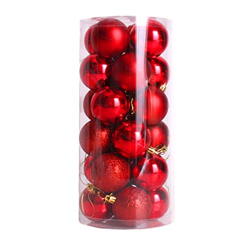 CHIC-CHIC 24pcs Boules de noël pour décoration de Noël - 4cm- mats et brillantes Sapin - Arbre de Noël (Rouge)