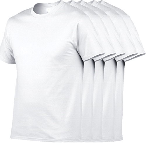 Herren Regular einfarbige T-Shirts mit Rundhalsausschnitt und kurzarm 5er Packung (American T-shirt Heavyweight)
