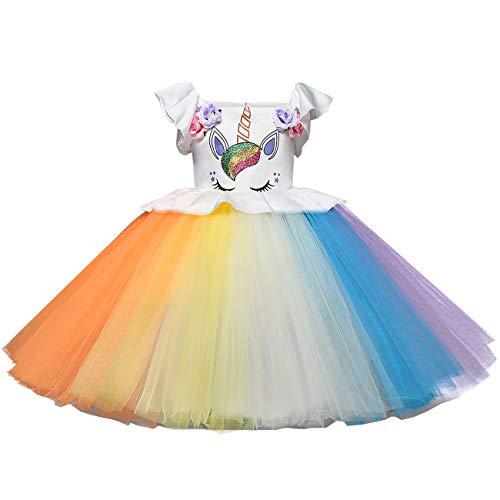 Mädchen Einhorn Blume Kleid Cosplay Hochzeit Geburtstagsfeier Party Kostüm Prinzessin Kleider für kinder/90