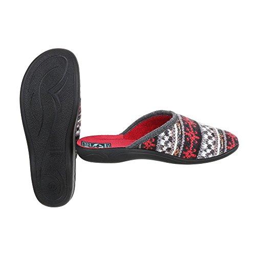 Ital-Design Hausschuhe Damenschuhe Pantoffeln Pantoffel Freizeitschuhe Rot Multi 20789