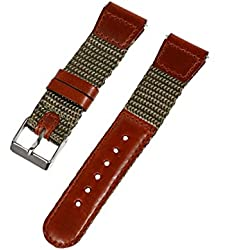 19-mm Olive Green 'Swiss-Army' Style Nylon and Leather Watch Strap
