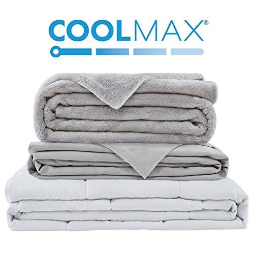 Bett-badewanne-bettwäsche (Grades of Comfort DC51-0003 gewichtete Decke mit 2 Bettbezügen für heiße und kalte Schlafplätze, Nanokeramikperlen bieten Langlebigkeit und seidigem Komfort (60 x 80 kg, grau),)