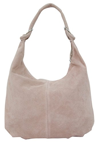 AMBRA Moda Damen Wildleder Schultertasch Damen Handtasche Hobo-Bags Shopper Beuteltaschen Veloursleder Suede Ledertasche DIN-A4 42cm x 35cmx 4cm WL803 (Nude Rosa) -