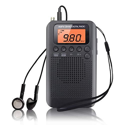 Pocket Radio Mini Tragbares Radio AM FM Digitales Radio Stereo Radio mit Kopfhörer Eingebauten Lautsprechern Musik Player Wecker und Timer, Persönlich, Ideal für Joggen (Schwarz)