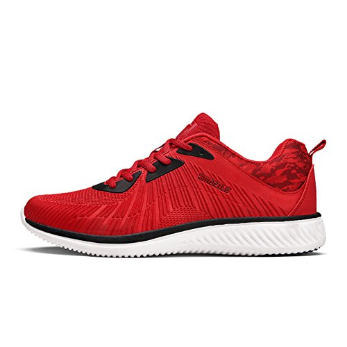 HooH Chaussures Running Hommes Respirant Décontractée Athlétique Léger Outdoors Mode Chaussures de Sport Rouge