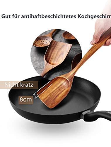 Loned Küchenhelfer Set, 7 Stück Holz Küchenutensilien Sets, Hitzebeständig und Antihaft, Japanischer Stil - 5