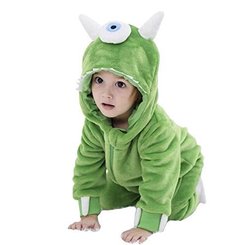 Weicher Schlafanzug für Kleinkinder, grünes Monster-Motiv, Unisex Gr. Large, grün
