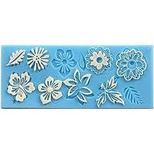 Allforhome Sugarcraft hoja de flor de silicona, estampado encaje fondant, molde de decoración para tartas, molde de arcilla polimérica, molde de resina