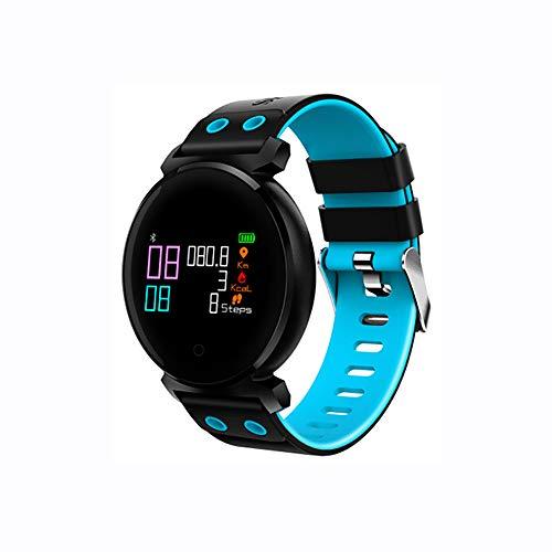 KJHGK Smart Armband Blutdruck Herzfrequenz Gesundheit Erinnerung Monitor Bluetooth Sport Armband Kompatibel IOS Android,Blue Blue Fox Bluetooth