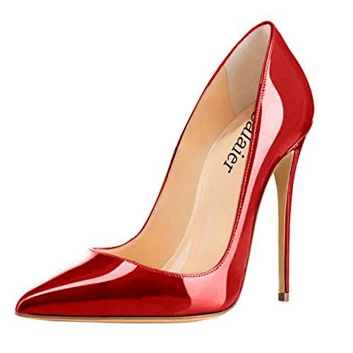 Calaier Damen Caover 12CM Stiletto Schlüpfen Pumps Schuhe Rot D