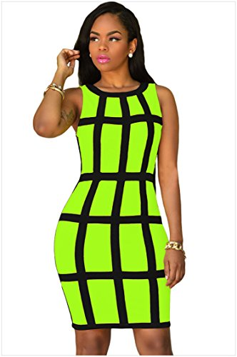 meinice Nero Trim gabbia design Dress (Verde,