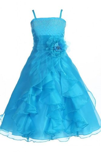 Sunvary Festlich Maedchen Blumen Kleider Organza Lang Blumenmaedchenkleider-14-Blau