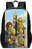 Zaini Shrek Cartoon 17 Inch School Bag Backpack College Bag Laptop Backpack Large Capacity Backpack (Black)