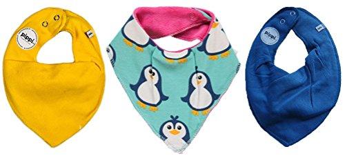 Produktbild Maxomorra / Pippi * 3er Kombi-Set Baby Halstücher Dreieckstücher 3 Stück * gelb blau PINGUIN auf mintgrün mit Organic Cotton