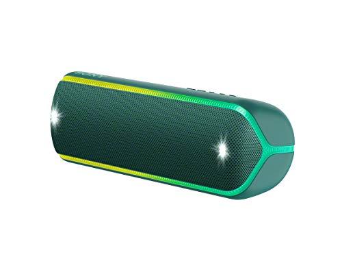 Sony SRS-XB32 kabelloser Bluetooth Lautsprecher (tragbar, NFC, farbige Lichtleiste, Extra Bass, Stroboskoplicht, wasserabweisend, kompatibel mit Party Chain)  grün