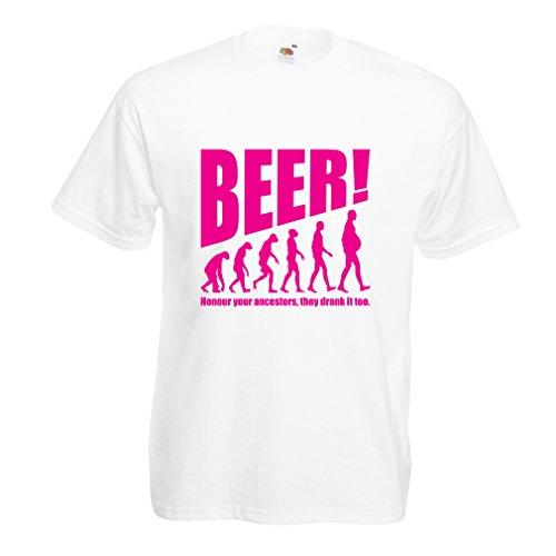 Männer T-Shirt Die Beervolution - Einzigartige Lustige sarkastische Geschenkideen für Bierliebhaber, trinkende Evolution (XXXXX-Large Weiß Magenta)