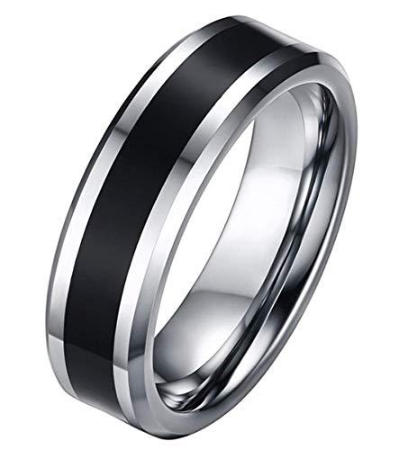 Ybmen hip hop semplice uomo nero dello smalto dell'intarsio 2 regali gioielli in argento del carburo di tungsteno 6mm wedding ring della festa di compleanno