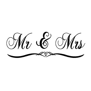Mr /& Mrs  Wall Stickers Decal Couple Bedroom Vinyl Art Decals Christmas Gift