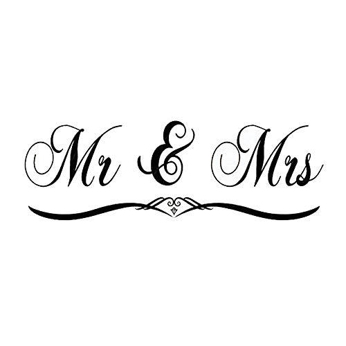 Homefind Sweet Couple Serie Buchstaben-Mr & Mrs-Abnehmbare Family Wandtattoo Aufkleber Schriftzug Vinyl Wand Kunst für Schlafzimmer 59