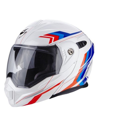 SCORPION Casco Moto adx-1Núcleo, White/Red/Blue, M