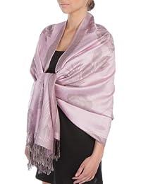 Sakkas Châle / Echarpe / Etole Léger Deux couleurs Rose Floral Design Contours Pashmina ( Au choix from 12 Couleurs )